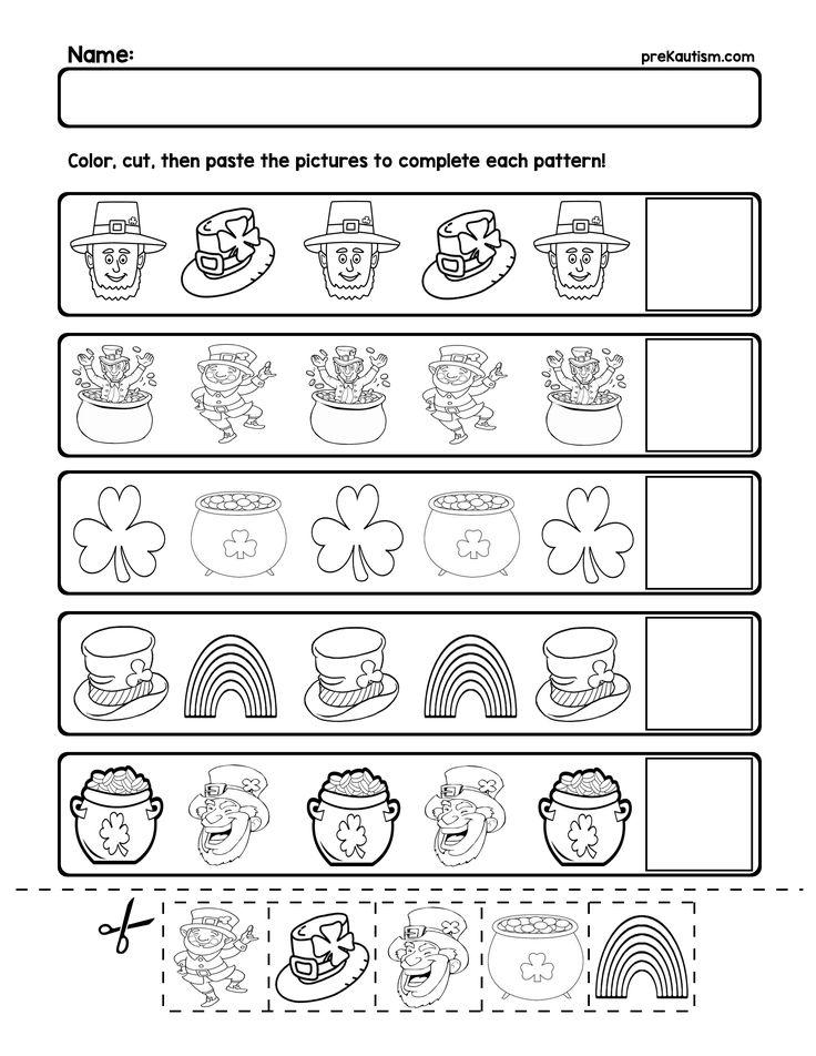 FREE St. Patrick's Day Pattern Worksheets Pattern