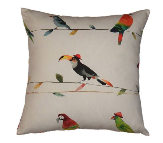 Toucan Pillow Cover, Jungle Pillow Case, Parrot Pillow Cover, Throw Pillow Case Cover, Kids Pillow Case, Children Pillow Cover, Pillow Case