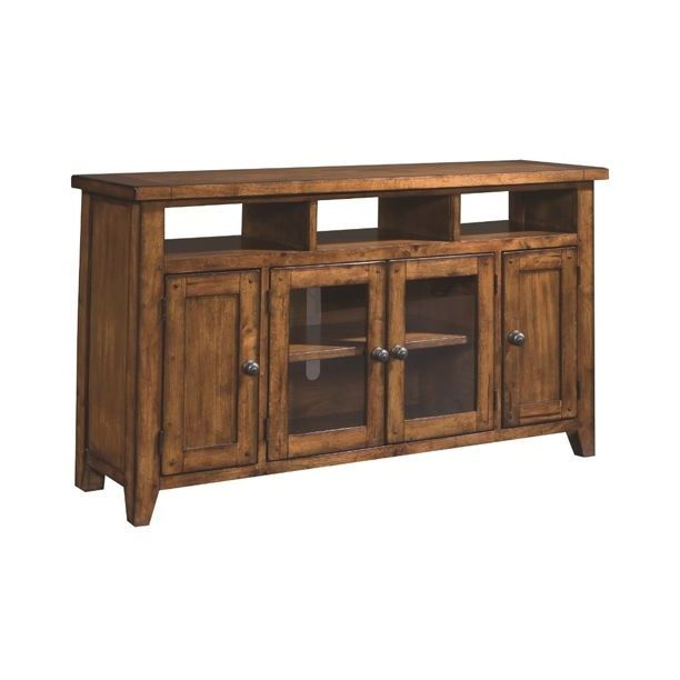 this beautiful tv stand features a lovely rustic finish and plenty of storage space for all your