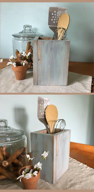 Love this rustic style utensil holder! Wood Kitchen Utensil Holder, Housewarming Gift idea, Farmhouse Kitchen Decor, Farmhouse Decor, Rustic decor, home decor #ad #kitchenutensils
