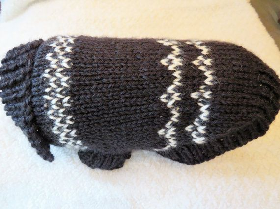 Knit small dog sweater in black and white