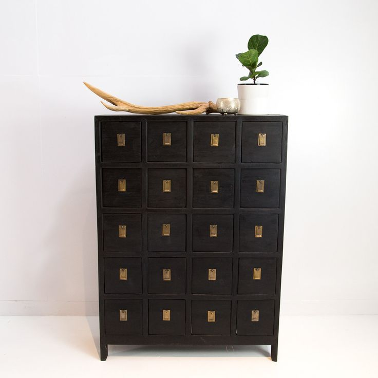 Black Recycled Teak 20 drawer cabinet
