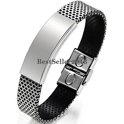 Silver Stainless Steel Black Leather Cuff Bangle Bracelet Men's Wristband Gifts