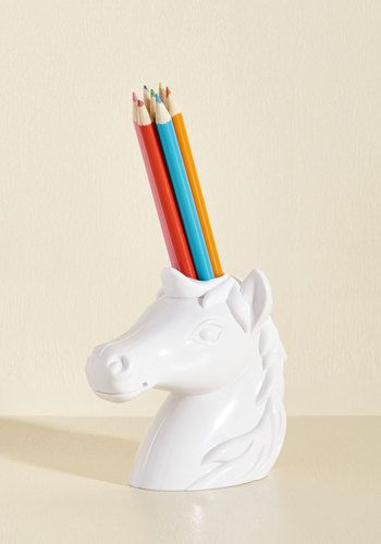 Back to the Drawing Horn Pencil Holder - White, White, Solid, Print with Animals, Work, Dorm Decor, Statement, Fairytale, Quirky, Critters, Spring, Summer, Fall, Winter, Gals, Cosmic Gifts, Under 25 Gifts, Unique Gifts, Store 1