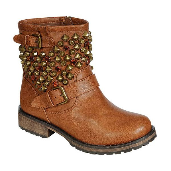 Breckelle's Tan Rocker Stud Ankle Boot ($25) ❤ liked on Polyvore featuring shoes, boots, ankle booties, ankle boots, studded booties, studded boots, low heel boots and breckelles boots