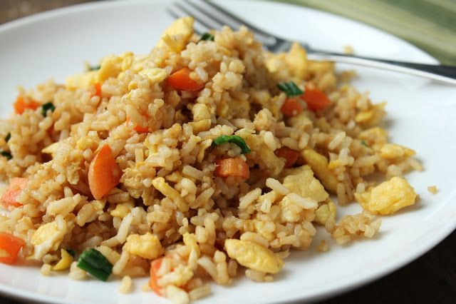 Chinese fried rice, carrots, green onions, eggs, gluten-free, low-fructose