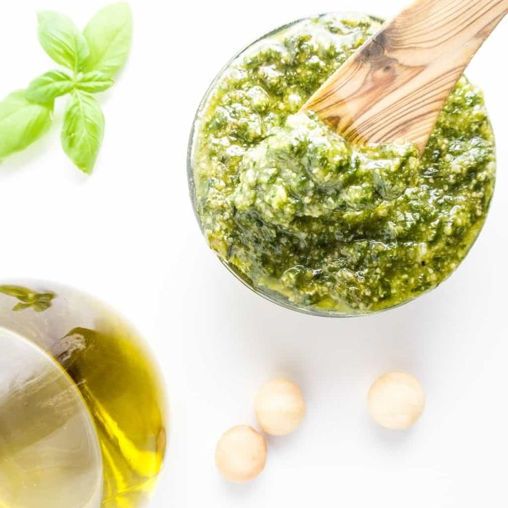 This easy macadamia nut pesto is naturally low carb and gluten-free. Macadamia nuts provide extra rich flavor and it takes just two minutes to whip up.