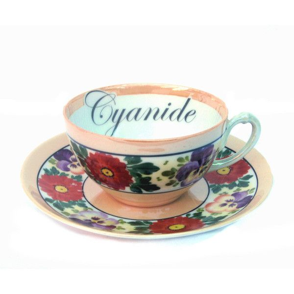 Cyanide Poison Teacup and Saucer ($34) ❤ liked on Polyvore featuring home, kitchen & dining, drinkware, home & living, silver, skull cup, floral teacups, vintage tea cups, peach cup and vintage teacups