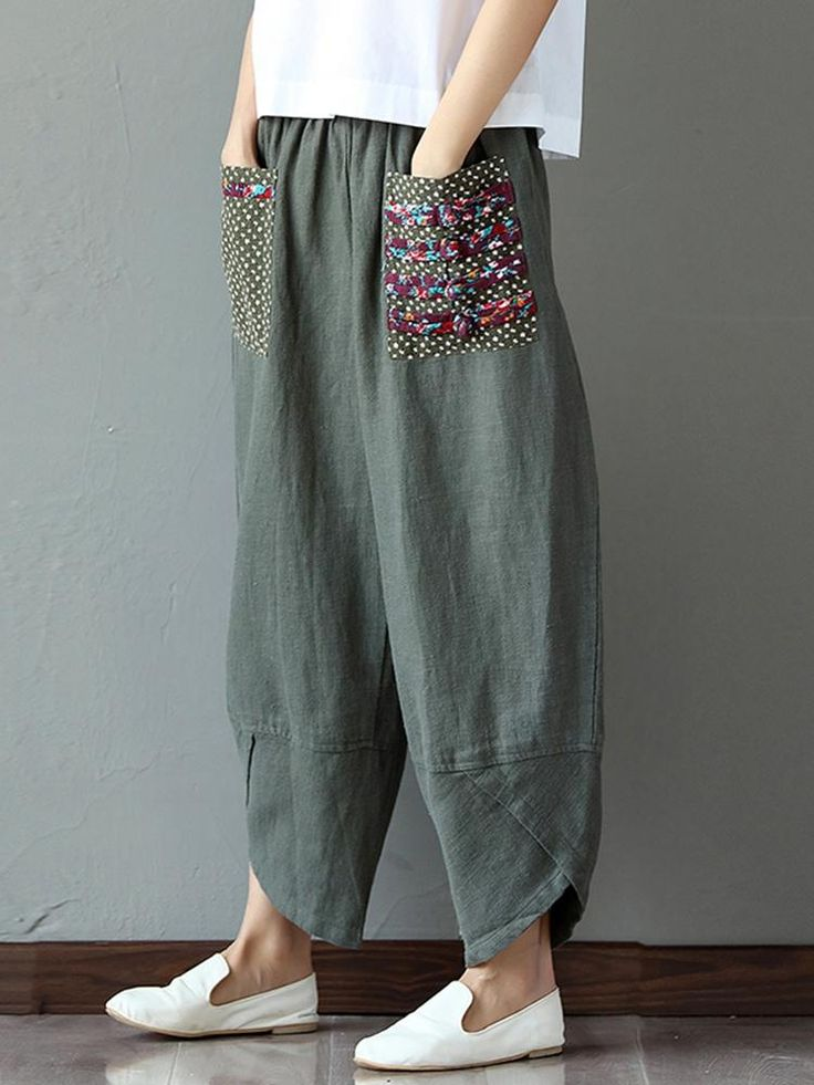 Patchwork elastic pants for women