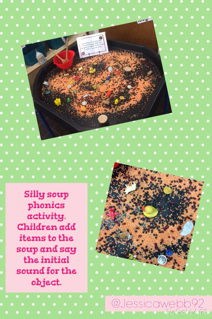 Silly soup phonics activity. 'I'm making lots of silly soup. I'm making soup that's silly. I'm going to cook it in the fridge to make it nice and chilly.' Children add objects whilst saying their initial sound. 'I'm adding something beginning with...' EYFS
