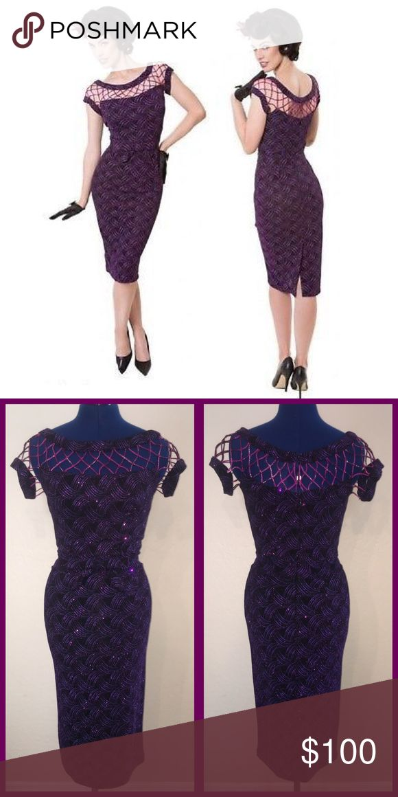 Tatyana Tempest Storm Seduction Pencil Dress NWOT. This gorgeous purple dress is a perfect fit with it's stretchy material so women of several shapes can look fantastic! Features a short sleeved caged detailed neckline with a bow accessorized empire waist. Three eye hook closures above a hidden metal zipper and ends with a striking slit. Comes in mid length and floor length, separate purchase. Made of 93% Nylon, 7% Spandex, and the lining 100% Polyester. Dry clean only. Bust 33-35 Waist…