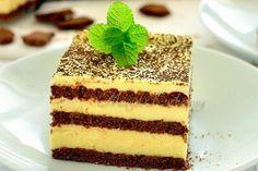 Bez pečení a bez složitého postupu. Vařený žloutkový krém navrstvený mezi kakaové sušenky a na vrchu posypané kakao. Hotová delikatesa!