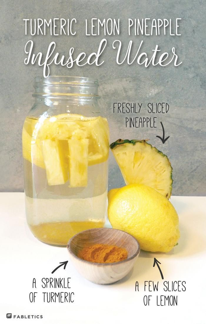 Refreshing pineapple lemon turmeric infused water for your next summer picnic in the park.   More healthy recipes on blog.fabletics.com
