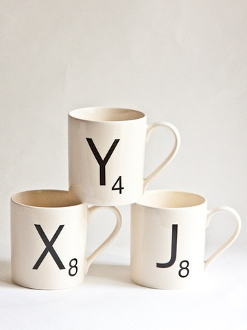 Scrabble Mugs- I know I'm a nerd for loving this =)