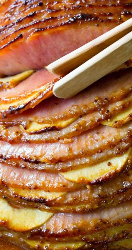 Apple Stuffed Baked Ham with Honey Mustard Glaze