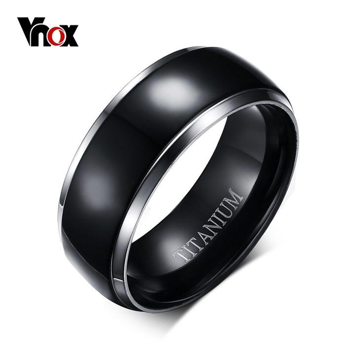 Mens Titanium Ring Black Engagement Wedding Jewelry USA Size 100% Titanium Metal