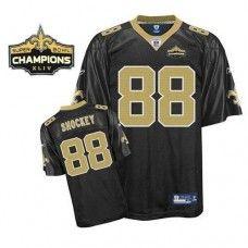 Saints #88 Jeremy Shockey Black Super Bowl XLIV 44 Champions Stitched NFL Jersey