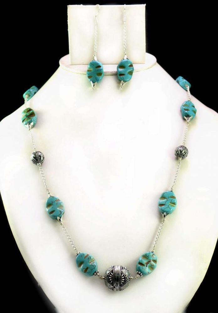 290ct Natural Semi Precious Blue Turquoise Designer Beads Necklace with Earrings #Handmade #Choker