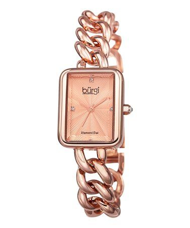 Another great find on #zulily! Rose Gold Square-Case Open-Chain Bracelet Watch #zulilyfinds