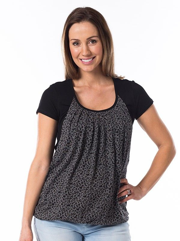 Wild One Top in Black from breastmates.co.nz -- Understated animal print with solid black sleeves. Pleated front with hidden breastfeeding openings and elasticated bubble hem to keep your bump covered. Flattering for post-baby tummy wobbles too.
