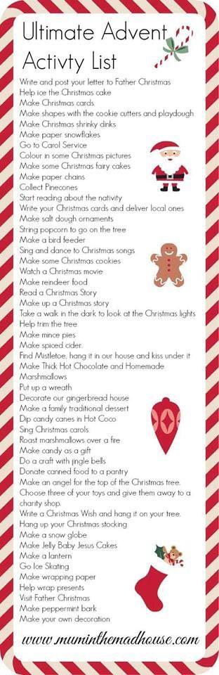 Advent Activities List