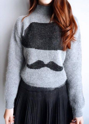 Fast Shipping Grey Long Sleeve Hat Beard Print Crop Sweater | Fashion4you - Clothing on ArtFire