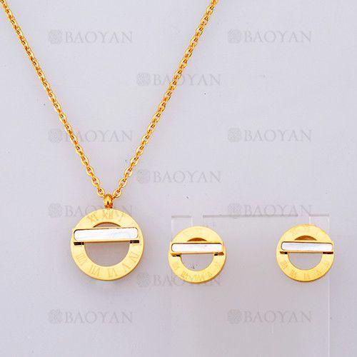 collar y aretes con numero de romano de dorado en acero-SSNEG804109