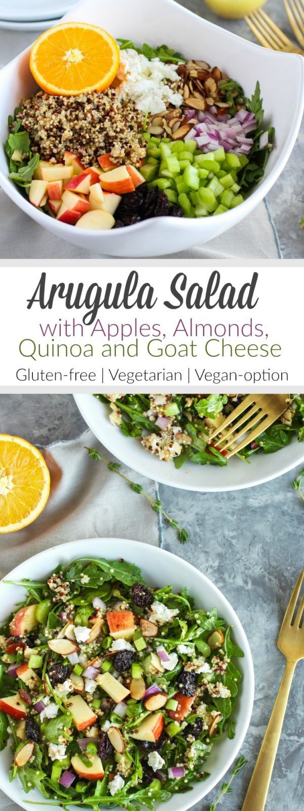 This Arugula Salad combines crisp apples, toasted almonds, hearty quinoa, creamy goat cheese, tart dried cherries and tossed in a delicious citrus vinaigrette | Gluten-free | Vegetarian | Vegan Optional | http://therealfoodrds.com/arugula-salad-with-apple
