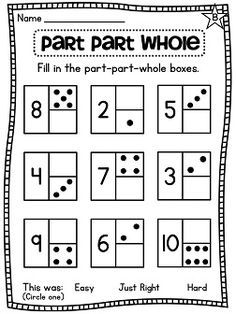 First Grade Math Unit 2: Number Sense, Part Part Whole