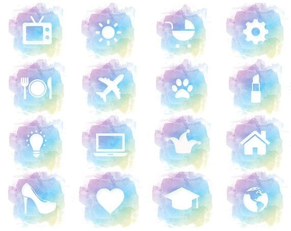 Instagram Story Highlight Icons Watercolor Cover Rainbow Etsy