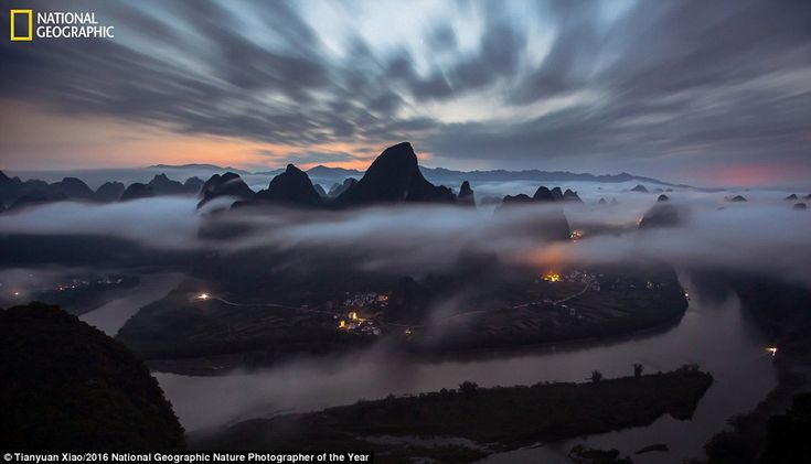 Photographer Tianyuan Xiao captured a peaceful scene before sunrise of the a mountain in t...