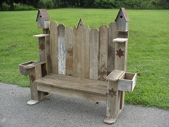 amish handmade country primitive garden birdhouse bench