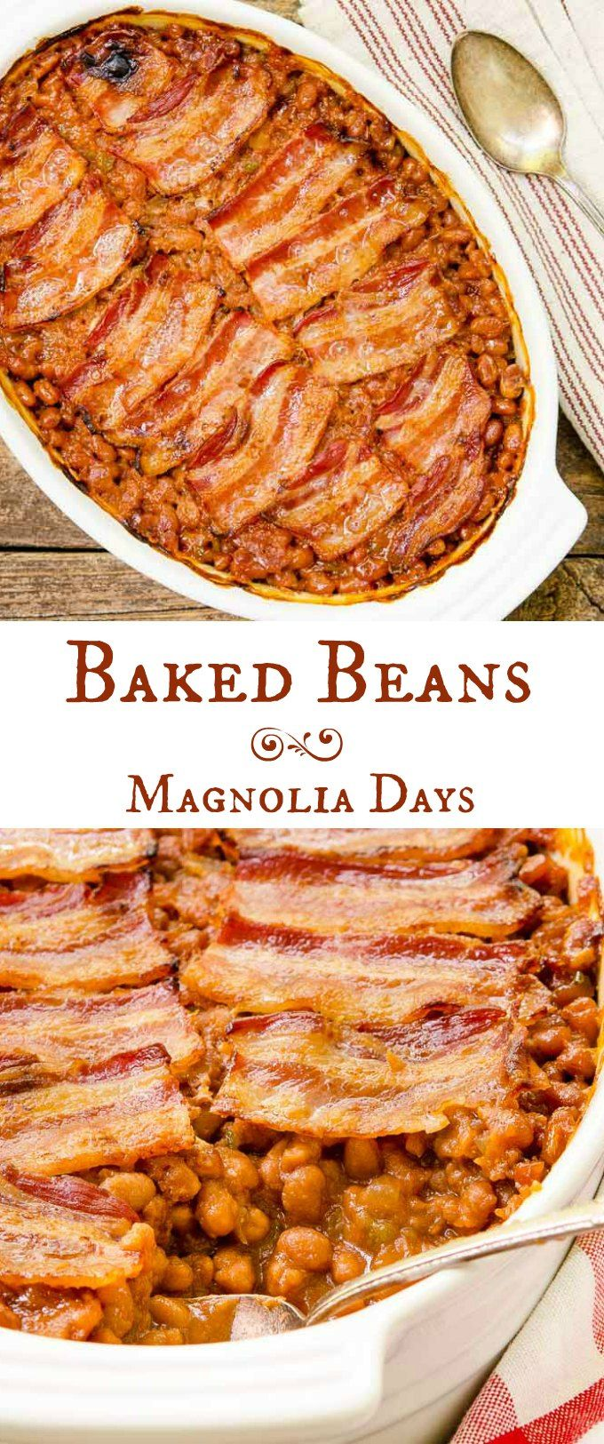 Baked Beans with bacon is a classic side dish popular at summer barbecues and potlucks. Serve it with burgers, ham, chicken, and BBQ pork.