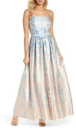 c12162c6b Eliza J Floral Embroidered Box Pleat Ballgown sleeve less maxi in color  beige pearl and light blue