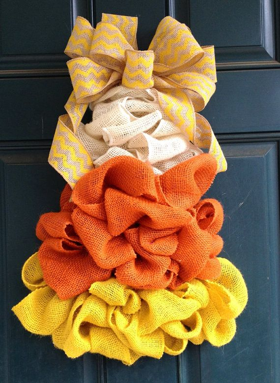 Candy Corn Burlap Wreath on #etsy