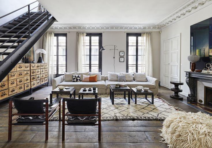 Un duplex parisien aux accents boh mes salle manger duplex amenagement salon am nagement - Salon amenagement interieur ...