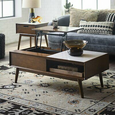 Details about STRIKING MID CENTURY MODERN COFFEE TABLE with ONYX MARBLE INSET TOP