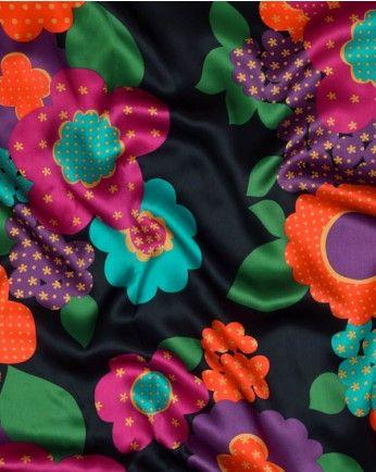 Silk Satin Fabric | Polka Dot Floral | Truro Fabrics