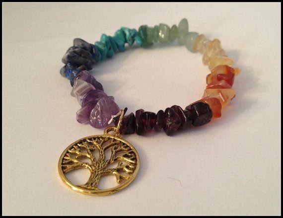 Seven Chakra Gemstone Chip & Gold Tree of Life Charm Bracelet, Chakras, Wicca, Wiccan Jewelry, Gemstone bracelet, Stretchy Bracelet by TracisJewelryShop, $14.00