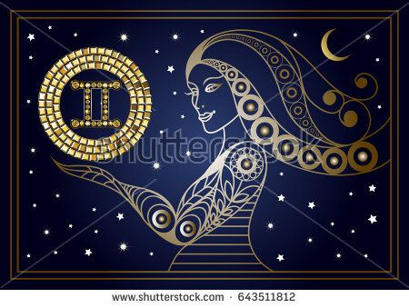 Decorative zodiac sign Gemini. Horoscope and astrology, astronomy-symbol. Suitable for invitation, flyer, sticker, poster, banner, card, label, cover, web. Vector illustration.
