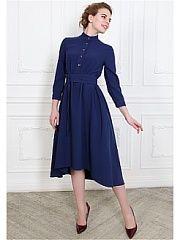 Платье po Pogode  Платье асимметричной длины синего оттенка. Детали: воротник стоечка железные пуговицы (все расстегиваются) рукав 3/4 на манжете длина изделия (от плечевого шва) по спинке 120см спереди 97см глубокие потайные карманы. В комплекте идет широкий пояс-кушак (из той же ткани что и платье). Материал: 80% шерсть 20% полиэстер (креп-шерсть: зернистая фактура). Ткань плотная но не толстая не колется приятная к телу. Рост девушки на фото 173 см.. Платье po Pogode промокоды купоны…