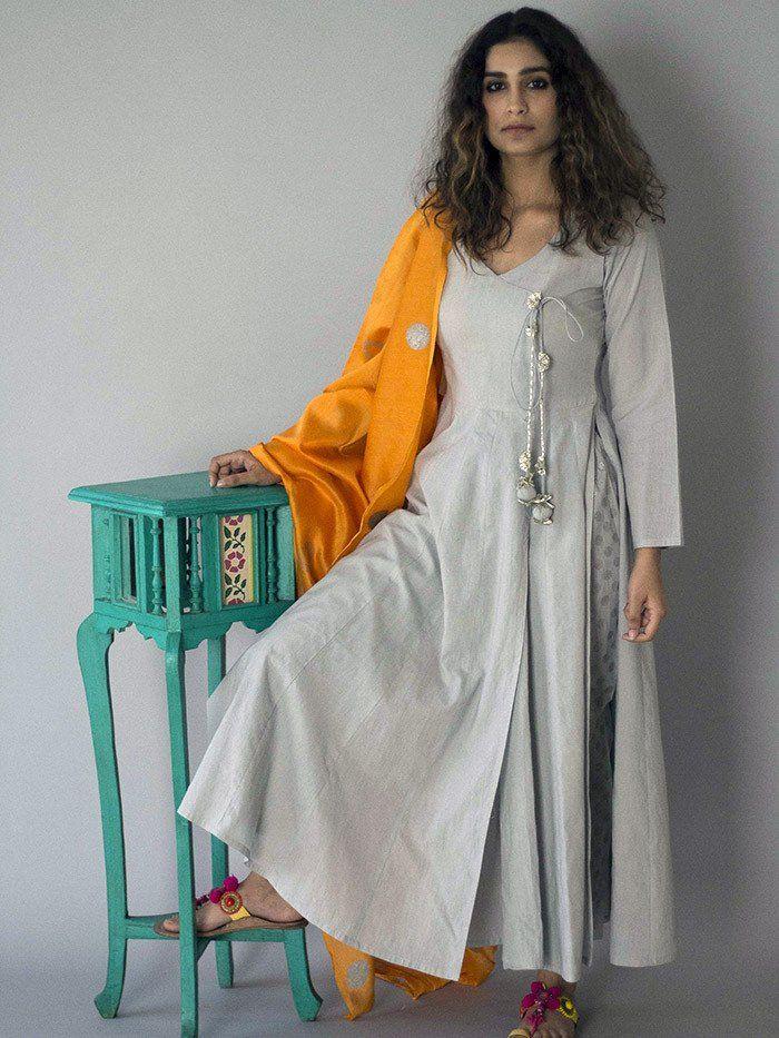 Grey Cotton Anarkali Suit - Set of 3
