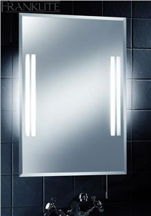 Energy Saving Bathroom Mirror with Shaver Socket  Energy Saving Bathroom Mirror Illuminated low energy bathroom mirror with bevelled edges, pull switch and integral shaver socket. As well as illuminating the glass strips at the front of the mirror, these have been designed to give a backlight at either side giving a soft light in the bathroom. Suitable for use in bathroom zones 1, 2 and outside zones. IP Rating 44   http://www.oberoi-brothers.co.uk/product.aspx?id=11200&categoryid=658