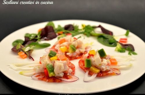 Ceviche with mullets, red shrimps, oranges and my all time favourite AvaCados