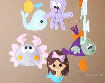 Welcome to Lovelyfriend Custom Baby Mobile Shop! Decorating this unique and lovely mobile to your baby nursery. Your baby will enjoy watching little critters and can make friends with them!  This wonderful handmade baby mobile is made with quality Eco-friendly felt and stuffed with polyester fill. NO Glue! The felt plushies are attached with durable clear string so they are like floating in the air. It is a great gift for any occasion... baby shower gift, kid room decor, for adults who love…