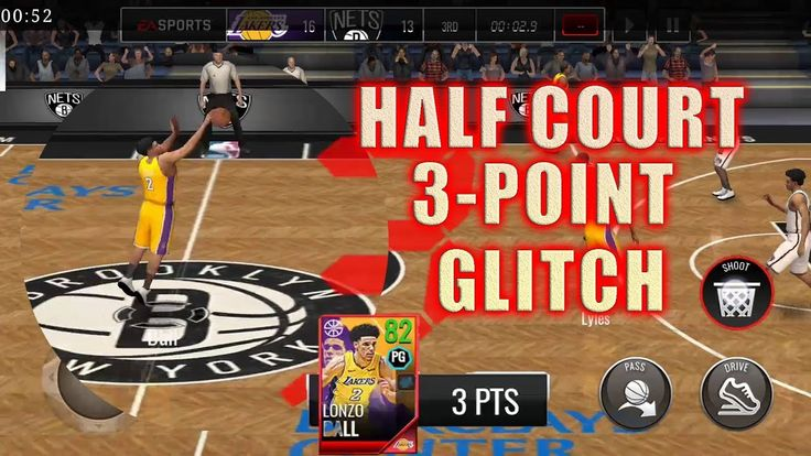 LONZO BALL HALF COURT 3 POINT GLITCH! BUZZER BEATER! NBA LIVE MOBILE 18 ...