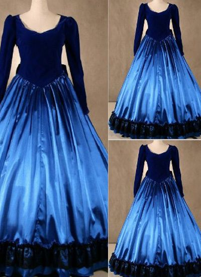 Noble Royal Blue Gothic Victorian Dress