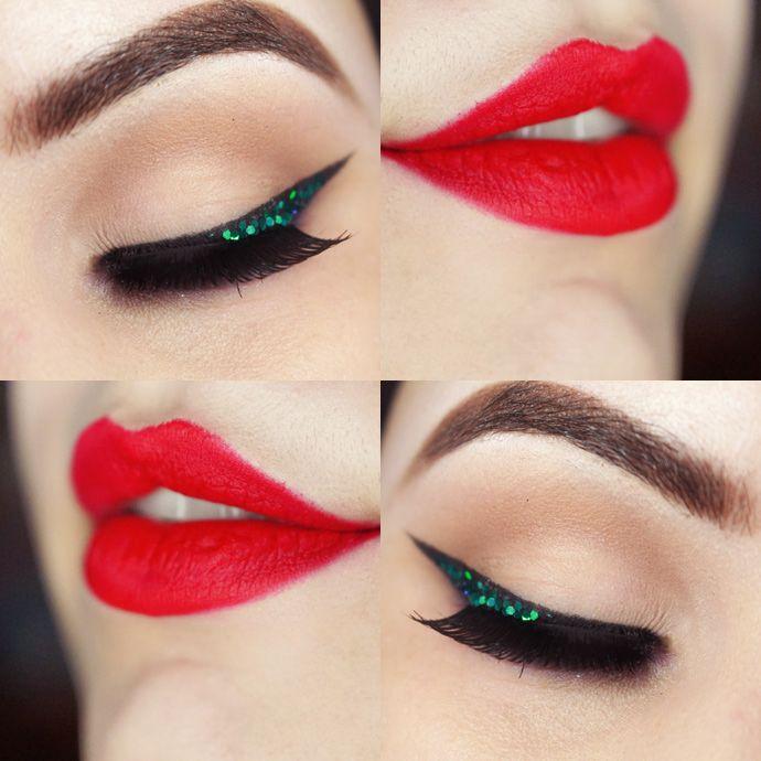 Ariel eye makeup - Hexagon turquoise glitter, mary kay eye primer for the glitter