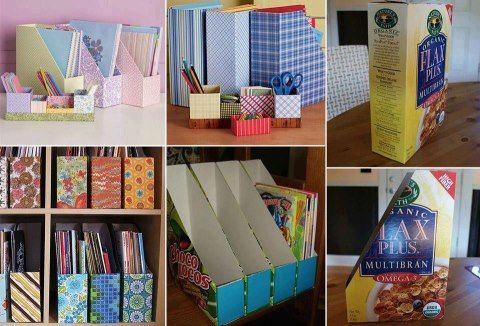 Make magazine holders or organize shelves with cereal boxes.