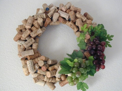 Wine Cork Wreath with Grapes or Red bows for the holidays!
